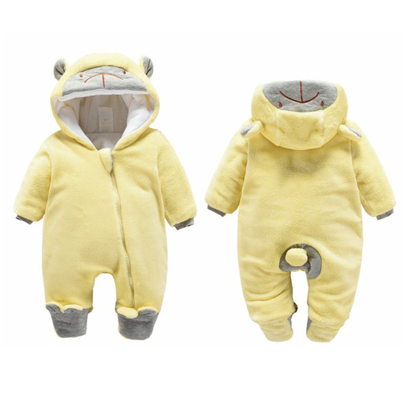 Baby girls warm jumpsuits clothes winter newborn baby velvet thick long sleeve rompers for baby girls infant soft hoodies boys sleepwear