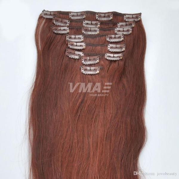 VMAE Бразильский 120г естественный цвет Brown 613 Straight Double Drawn Clip In Virgin Remy выдвижений человеческих волос