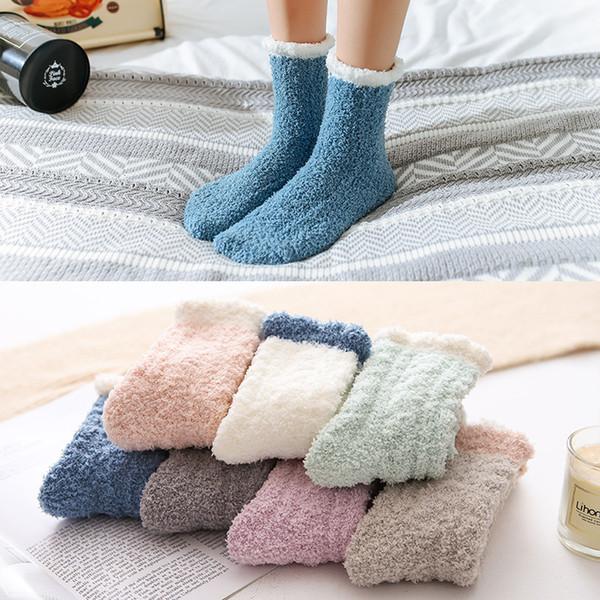 7 Styles Fluffy Coral Velvet Chaussettes Fuzzy pour Femmes Filles 2020 Hiver Accueil douce Cozy sommeil chaud Chaussette adulte Bas de Noël Cadeau M657F
