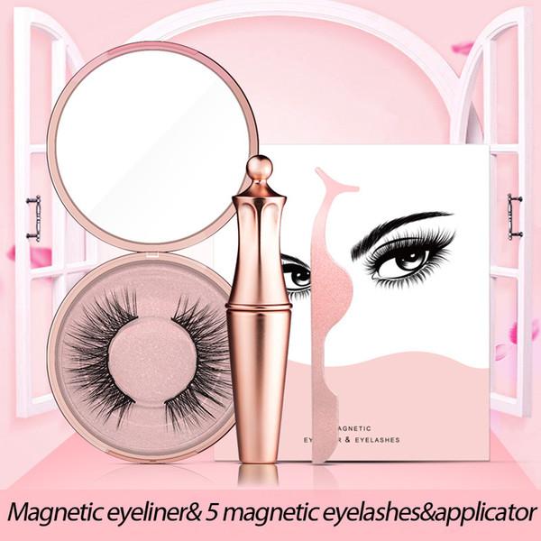 New Makeup Set Magnetic Eyeliner & 5 Magnetic Magnet False Eyelashes & Applicator Tweezer Set Liquid Eyeliner Cosmetics Kit.