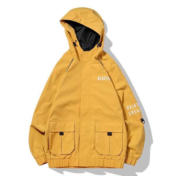 Giacche da uomo giacca a vento qiu dong lettere stampate tendenza a tre colori degli utensili di abbigliamento da uomo con cappuccio giacca con cerniera
