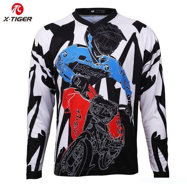 X-tigre manga comprida Downhill Jerseys shirt Motocross Sports Wear 100% poliéster Ciclismo Jerseys Mountain Bike DH shirt