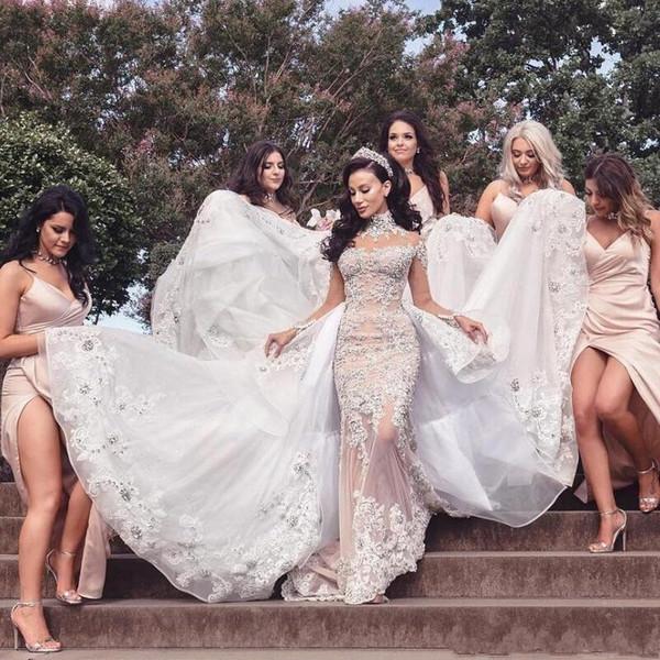 Magnifique Sirène De Luxe Cristal Robes De Mariée Major Perlage Cou Cou Appliques Manches Longues Robes De Mariée Long Train Robes De Mariée