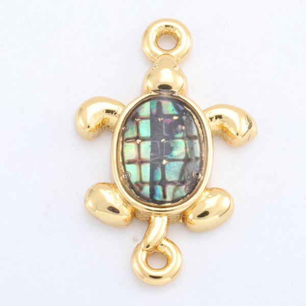 Singreal Abalone Shell Micro Pave Turtle Charms Bracelet necklace Choker Pendant connectors for women DIY Jewelry making