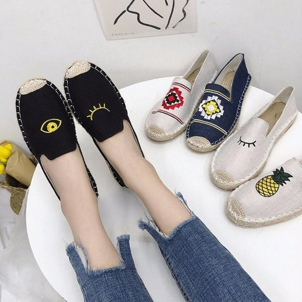 eye and eyelash embroider espadrilles shoes women cartoon pineapple flats designer rope loafers ladies creepers flat shoes s280