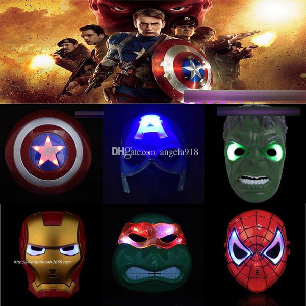 12 Stili Led Maschera supereroe Hulk Capitan America Iron Man maschera maschera incandescente Teatro Prop Novità o Bambini Preferito L145