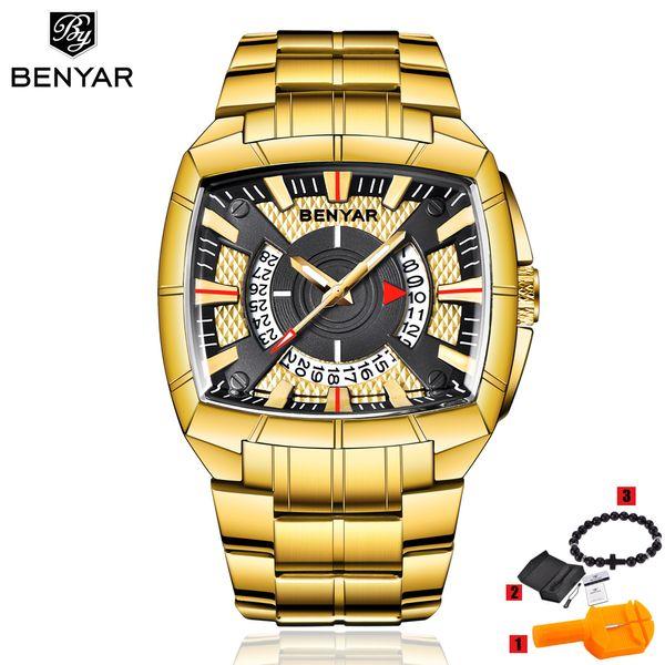Top Benyar Men Watch Reloj Hombre Steel Quartz Orologi Sport impermeabile Orologi da polso Casual Montre Homme