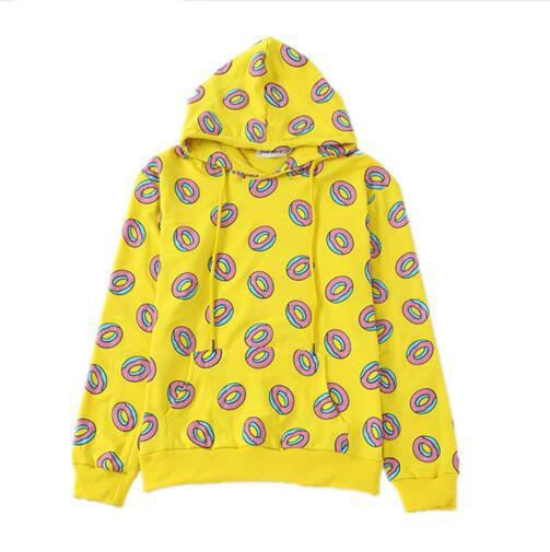 2018 Herbst Nette Donut Print Pullover Frauen Hoodies Sweatshirts Gelb Unisex Sudaderas Mujer Fashion