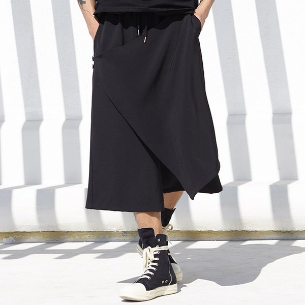 28-44 ! 2018 Men's clothing Hair Stylist fashion non-mainstream casual Culotte casual Wide Leg pants Plus size singer costumes