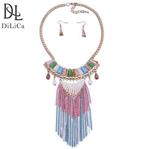 wholesale Fashion Women Jewelry Sets Acrylic Crystal Statement Necklace Choker Necklaces & Pendants Drop Earrings Set Jewelry