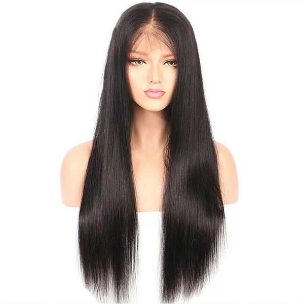 Prix de gros long soyeux brésilien vierge vierge de cheveux humains sans colle pleine perruques de dentelle pour femme noire sans séparation