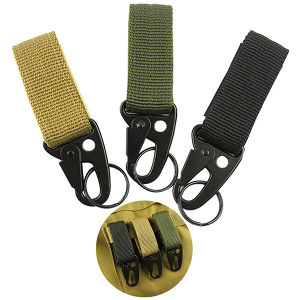 Outdoor Camping Tactical Carabiner Hanging Nylon Belt Backpack Key Molle Hook Webbing Buckle Strap Clip Keychain Clasp