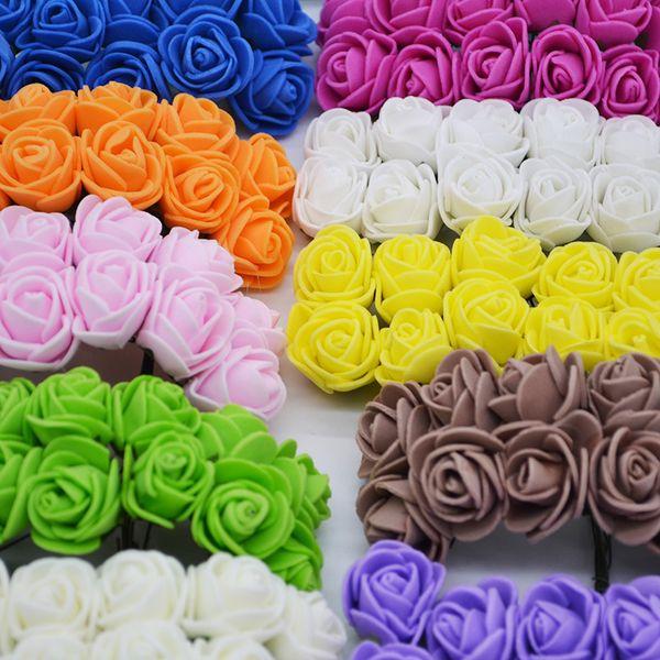 72 шт. 2 см Мини пена Роза искусственный букет цветов многоцветная Роза свадьба цветок украшения скрапбукинг поддельные красивые цветы