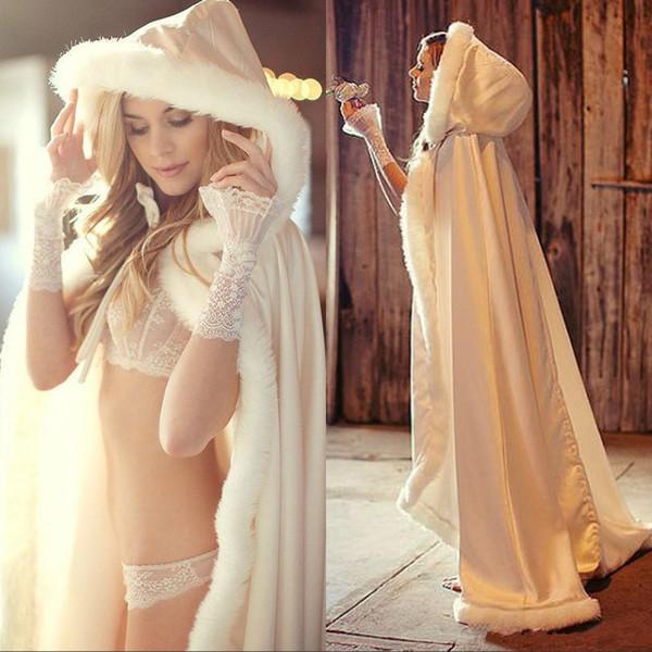 Nuovo arrivo Inverno sposa del capo del mantello incappucciato con le donne a capo di banchetto disposizione della pelliccia lungo involucri nuziale Jackets Special Party