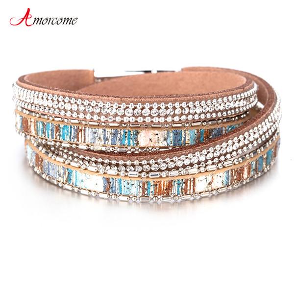 Amorcome Graffiti Bracelets En Cuir Pour Femmes Brillant Cristal Vintage Boho Multicouches Double Wrap Bracelet Femme Bijoux