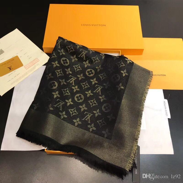 Shinning Golden Silk Silk Textilqualitätsschal Marke weiblicher Schal starker Dreieck 140x140cm Schal freies Verschiffen