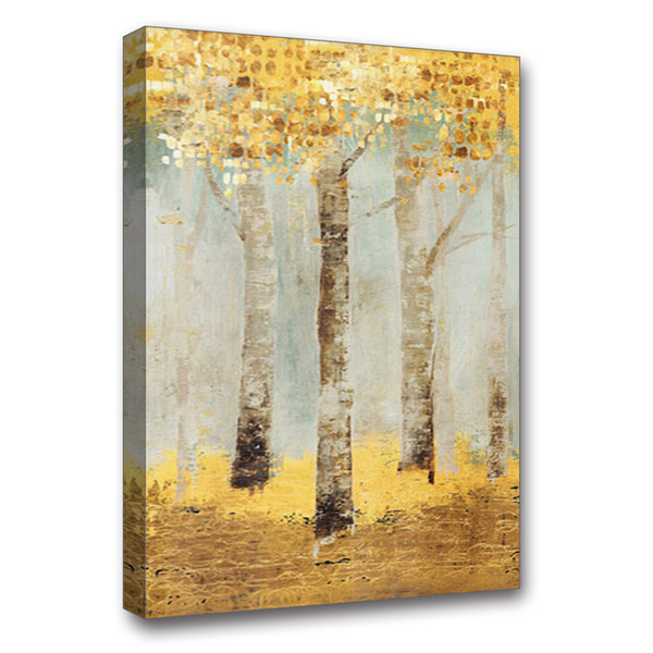Hand Painted Oil Painting On Canvas Abstract Landscape Birch Forest Picture Framed Painting Wall Art Living Room Hallway Bedroom Wall Decor