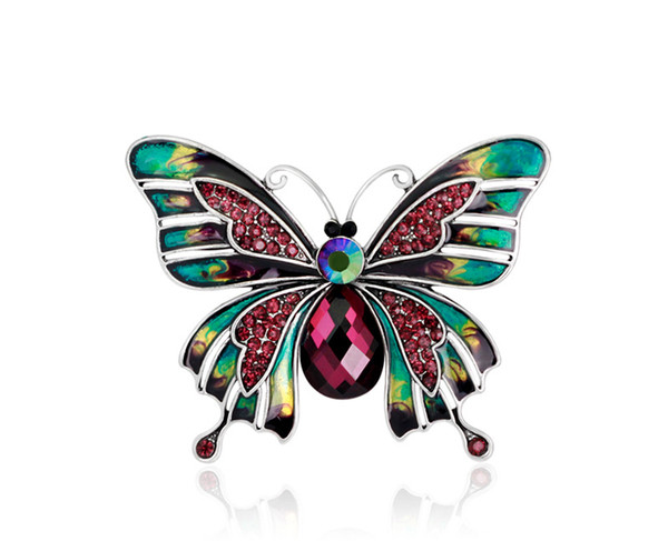 Bijoux en cristal de mode Colorés Émail Déposant Huile Broche Papillon Broches En Cristal Vintage Broches pour Homme Femmes Parti Accessoires