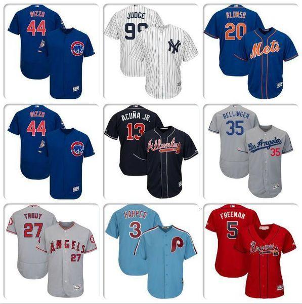 Camiseta de béisbol para hombre Bryce Harper Javier Báez Pete Alonso Cody Bellinger Mike Trout Freddie Freeman jerseys frescos de base flexible Ernie Banks BASE