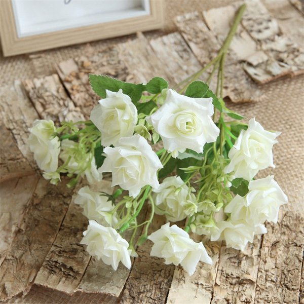 """Fake Curling Rose Bunch 13.39"""" Length Simulation Multi-headed Roses for Wedding Home Decorative Artificial Flowers"""