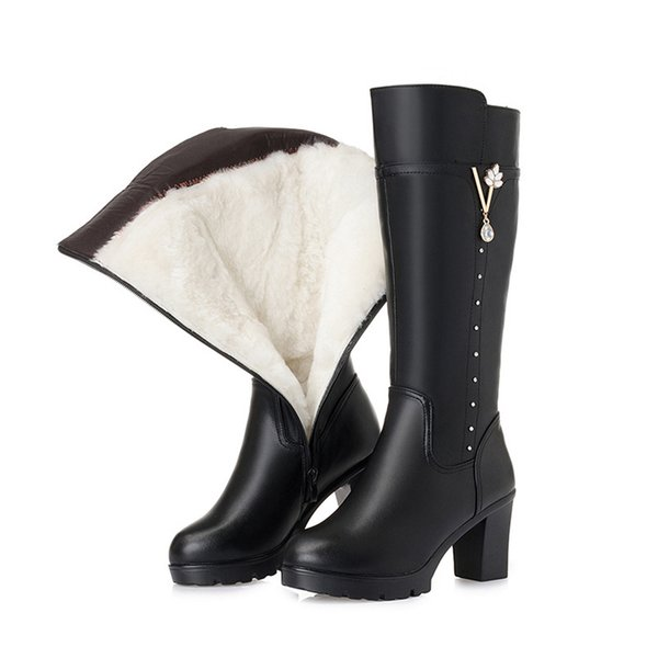 Genuine Leather High Boots For Woman Winter Shoes 2019 Fur Wool Warm Ladies Winter Boots Fashion Rhinestone Women Knee-High Boot