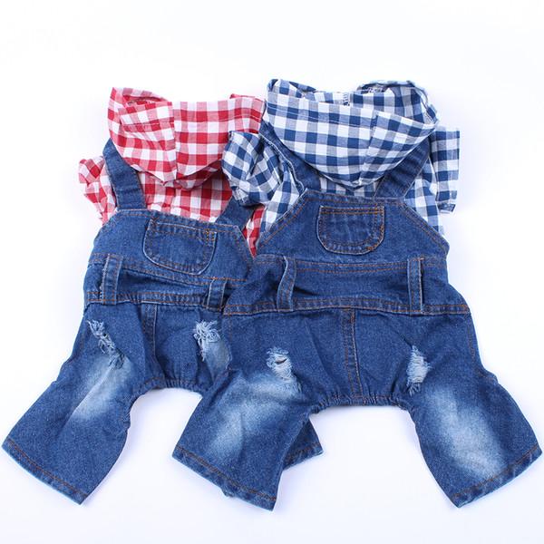 Dog Cat Jacket 2-Leg Plaid Casual Denim Vest Jeans Jumpsuit Clothes For Small Pet 6 sizes