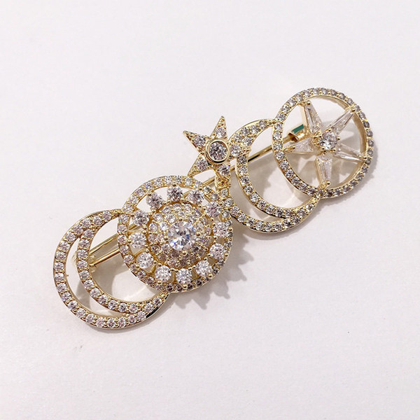 Fashion Crescent Brooches Lady Luxury Accessories Stars Brooch Women Sun Flower Brooches Gold Silver High Quality Fine Jewelry Lovers Gifts