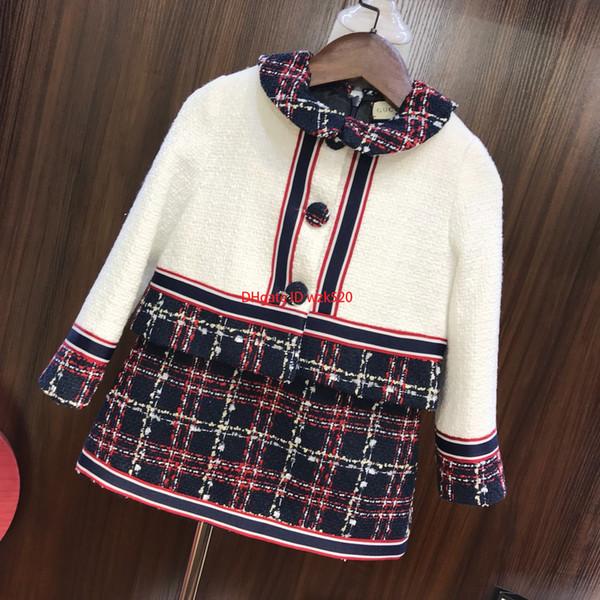 Kızlar yelek etek setleri çocuklar giysi tasarımcısı ceket + yelek etek 2 adet kompozit kumaş astar pamuk sonbahar yeni ekose set2019