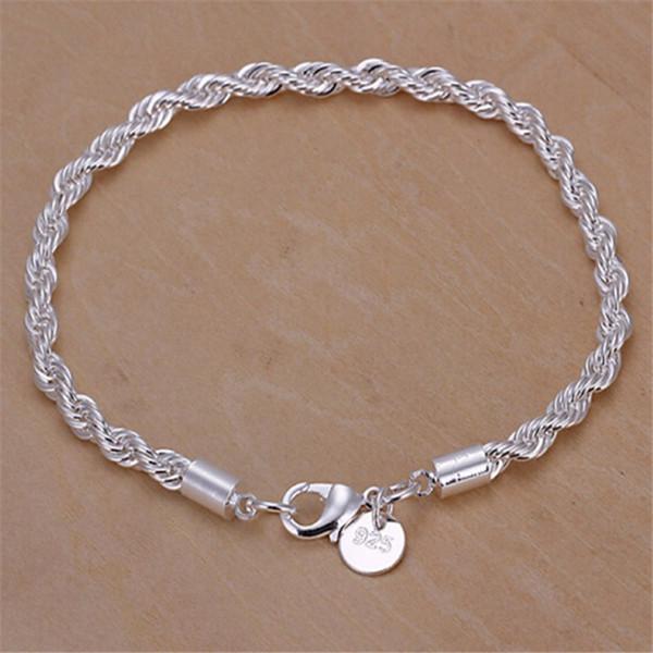 Charm 925 silver Women bracelet fashion 3MM rope chain bracelet jewelry For Lady Good gift