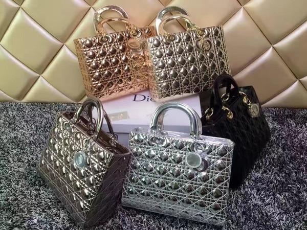 Brand Design qualità della signora Plaid Messenger Bag Patent Vera Pelle 2019 lusso con i fascini di Miss catena 7 Plaid Xl Tote reale