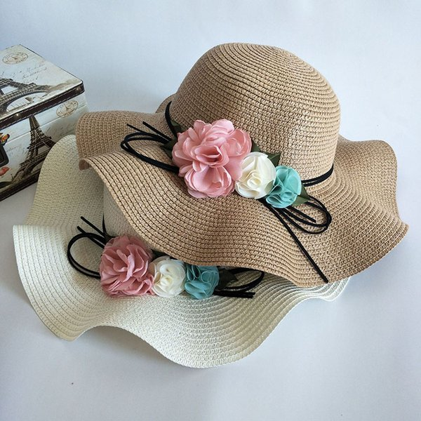 Summer women flower Simple Wavy large brimmed straw hat adult Lady Solid color Beach sun hat