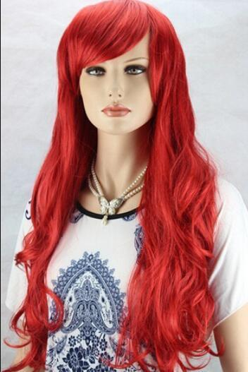 WIG free shipping Fashion New Womens Long Curly Red Full Hair Cosplay Wig Lolita Party Wigs