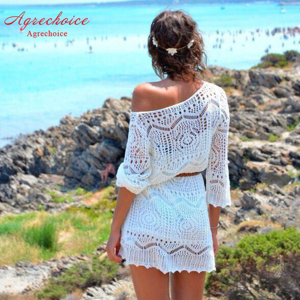 2019 New Bikini Cover Up Crochet Hollow Out Beach Dress Women Swimsuit Cover Up Tunics Sexy Bathing Suit Cover-ups Beachwear Xl Y19060301