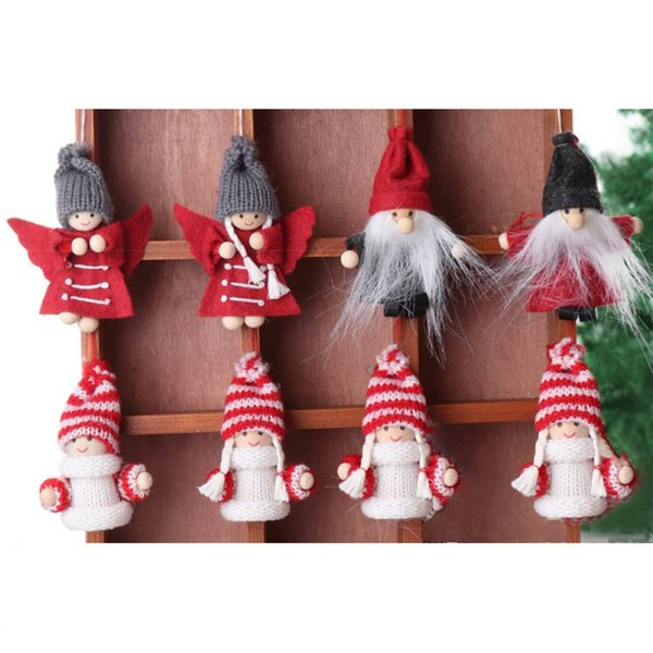 2Pcs Christmas Children Present Hanging Decoration Knitted Doll Figurine Pendants Ornaments Kids Room Gift Xmas Tree Decorations