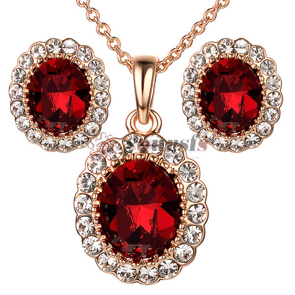 Yoursfs Rose Gold Wedding Bridal Jewelry Set for Women Cubic Zirconia Bridesmaid Clip on Earrings Birthstone Necklace