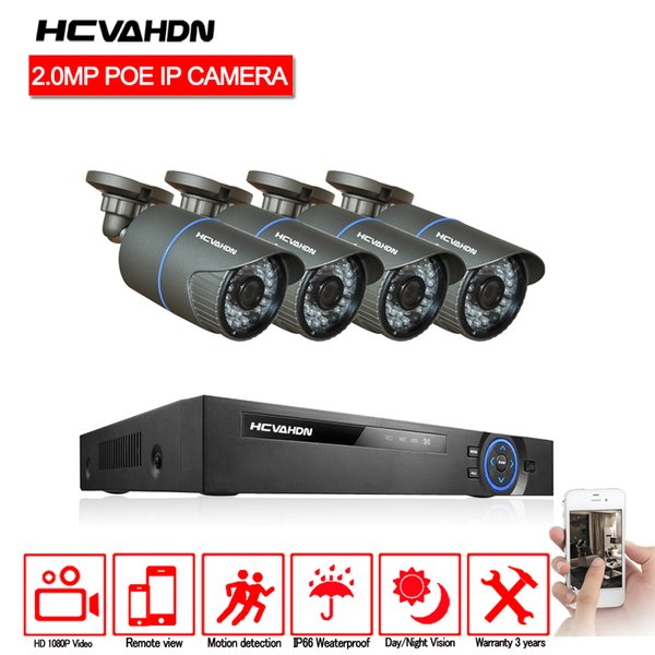 HCVAHDN 4 Channel PoE Kit HD 1080P 4CH NVR POE IP Network 2MP Indoor Outdoor Cameras Home Security System 2TB HDD IR-cut