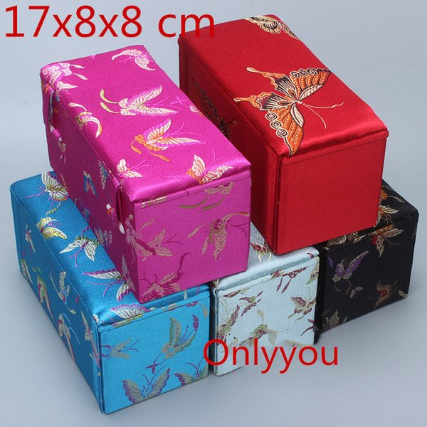 Luxury Rectangle Jewelry Wooden Storage Box Decoration Crafts Stone Collection Packaging Box Chinese Silk Fabric Box 17x8x8 cm