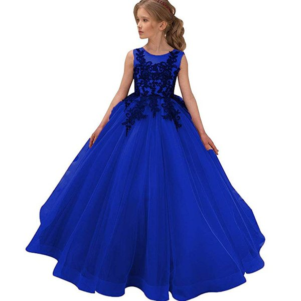 Marineblau Blumenmädchenkleider Applique Spitze Mädchen Festzug Kleider Jewel Neck A-Line Ärmelloses Langes Kinder Hochzeitskleid