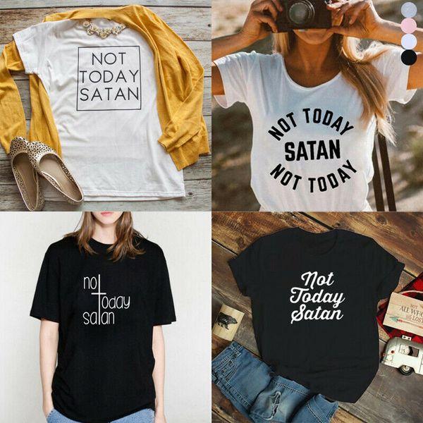 Não Hoje Satanás T-shirt Cristão Tee Fé Jesus Tops Camisas Do Tumblr Das Mulheres Dos Homens Unisex Moda tshirt Frete Grátis Engraçado Legal Top Tee Branco