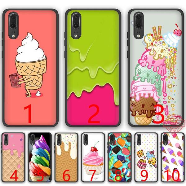 Melt Ice cream Cream Fancy Rainbow Swirl Soft Silicone Black TPU Phone Case for Huawei P8 P9 P10 P20 Lite Pro P Smart Cover
