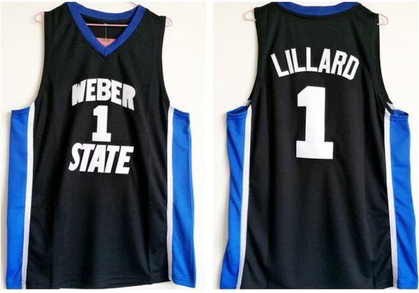 NCAA Université de Weber State Damian # 1 Lillard Basketball Maillots Hommes Noir S-2XL meilleure qualité shirt Hip-Hop Cousu