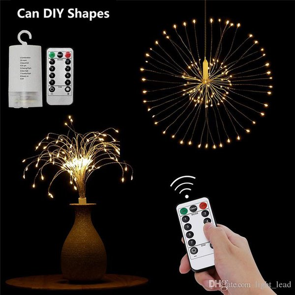 Firework LED String Light DIY Ramo Forma LED Luces de hadas Funciona con batería 8 modos Luces decorativas con control remoto Luces LED