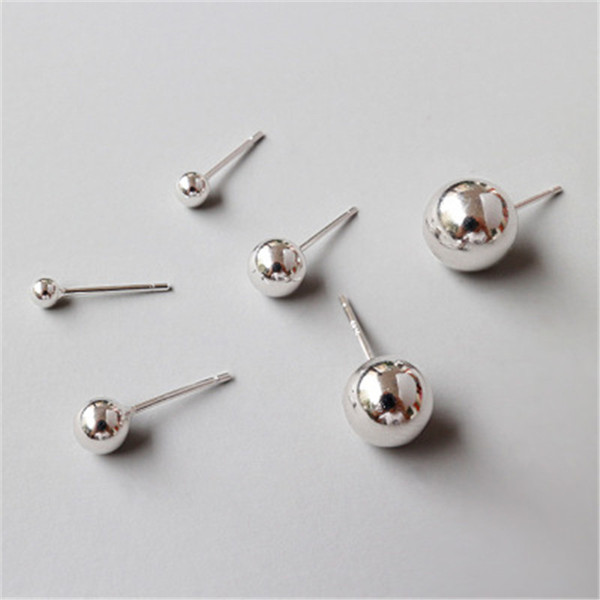 New Simple 925 Sterling Silver Round Ball Stud Earrings For Women Ear Piercing Jewelry Studs Earings Brincos Fine Jewelry