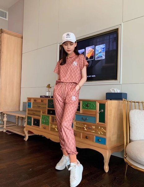 Women's Summer New Style Full Of Plaid Print, Short-sleeved Trousers Fashion Suit, Cotton Fabric, Sweat Absorption On The Upper Body