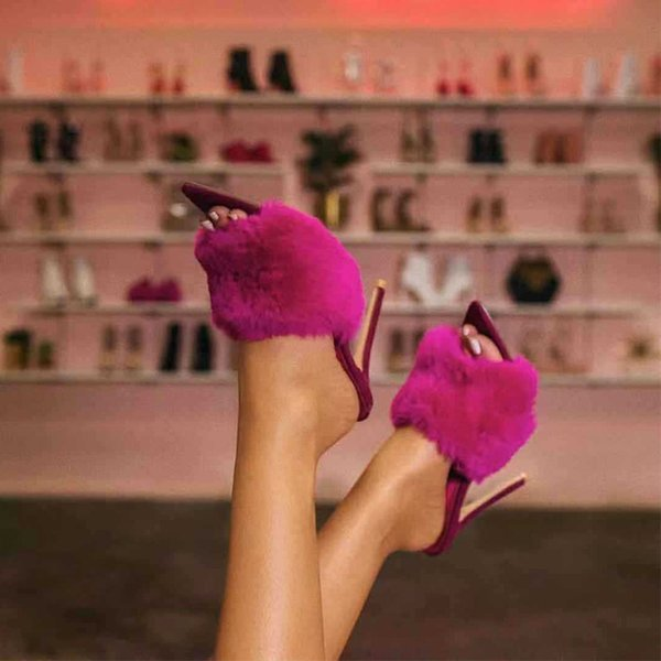 2019 Fur Women's Pumps Heels Shoes High Heel Slippers Women Big Large Size Pointed Toe Ladies Female Slides Fashion Woman Shoes #9753