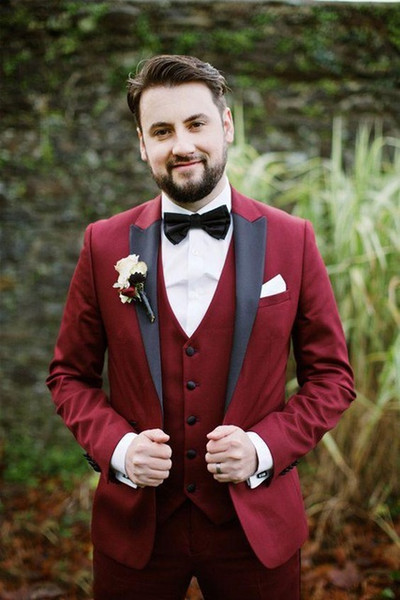 3 Pieces Men Burgundy Suits With Black Lapel Slim Fit Groom Tuxedos For Wedding Prom Party Dresses (Jacket+Pants+Vest) ZQ