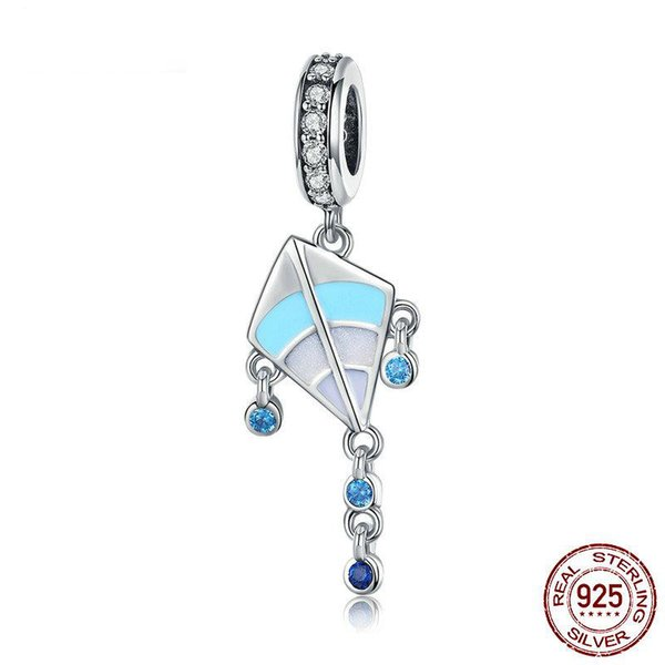 Pandora Style Authentic 925 Sterling Silver Kite Pendant Color Enamel Charms Fit Girls Bracelets Jewelry Making Children Gift