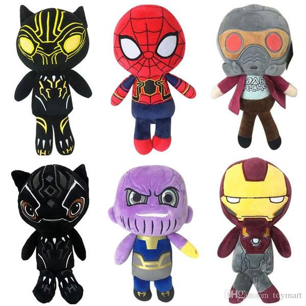 Compre Vingadores Bonecos De Pelúcia 22 25 Cm Tecido Kawaii Macio Fofo Stuffed Super Heroes Fingure Bonecas Thanos Spiderman Homem De Ferro Pantera