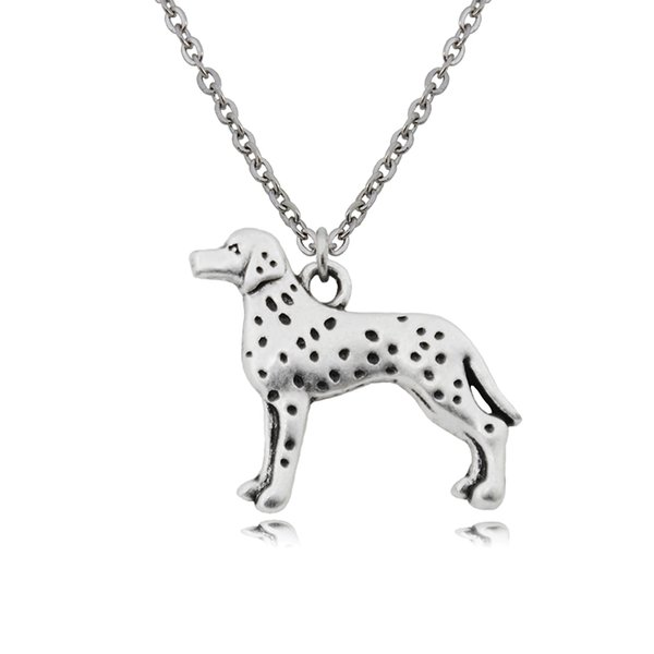New Vintage Dalmatian Pendant Stainless Steel Chain Necklace Colar Boho Dog Charms Women Necklaces For Girls Bijoux Femme Best Gifts