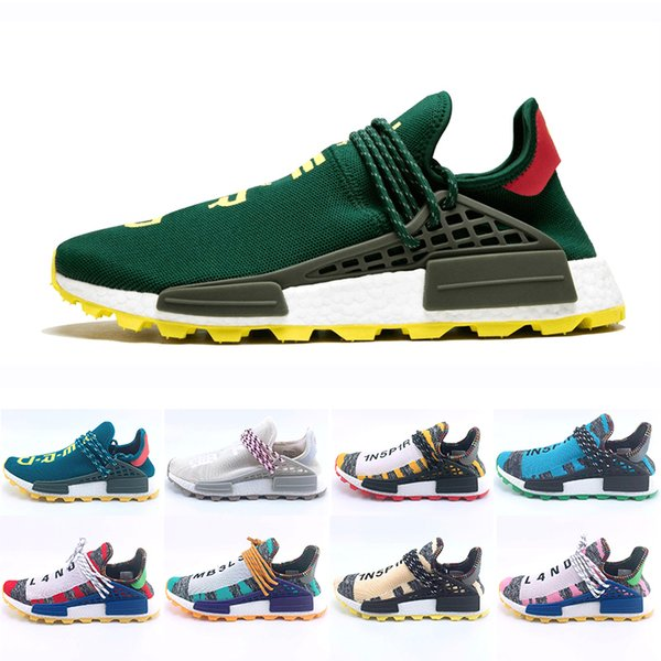 Green Nerd Heart Mind Human Race Running Shoes Homecoming Solar PacK pharrell williams Hu trail trainers Men Women runner Sports sneakers
